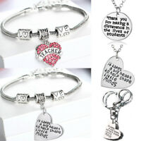 Christmas Gifts For Teacher Keyring Bracelet Pendant Chain Necklace Jewelry Xmas
