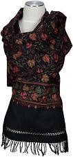Schal hand bestickt hand embroidered 100% Wolle wool  stole écharpe Kashmir