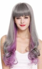 Women's Wig Long Fringe Smooth Curly Points Grey Violet Purple Mix D1819