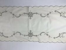 Vintage Cut Work Embroidered Floral White Gray Cotton Table Runner Scalloped