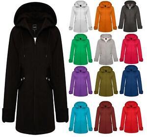 New Womens Ladies Girls Fleece Hoody Winter Parka Long  Jacket overcoat S-5XL