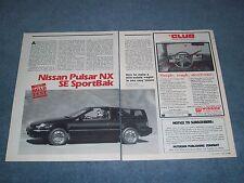 1988 Nissan Pulsar NX SE SportBak Vintage Road Test Info Article