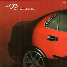 Saab 9-3 Saloon Specification 2003-04 UK Market Brochure Aero Vector Arc Linear