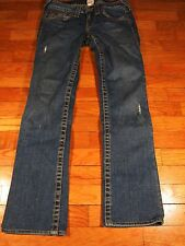 True Religion 26 x 29 Johnny Low Rise Straight Jeans Distressed Blue