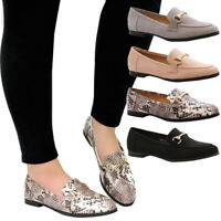 Ladies Womens Casual Buckle Low Heel Loafers Work Office Pumps School Shoes Size