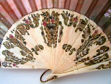 Antique Spanish Carved Bone Enameled Silk Hijos Pedro Martin Hand Fan Eventail