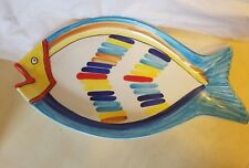 """HAND PAINTED LARGE FISH PLATTER ITALIAN POTTERY 19"""" OVAL SERVING DISH ITALY"""
