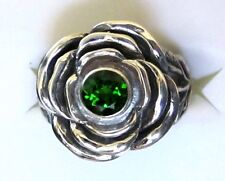Chrome Diopside, 925 Sterling Silver Flower Ring, size 5.75 --- 0.61cts, 4.9g