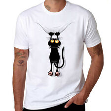 Black Cat Falling Down Funny T Shirts Cotton men T-shirt Short Sleeve tops tee