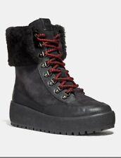 COACH Tyler Weatherproof Shearling Boots WOMENS SZ 8.5 EU 39 Black NIB $325