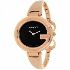 af25b594e89 Gucci 134 Guccissima Ladies Black Dial Rose Gold Bangle Quartz Watch  YA134305
