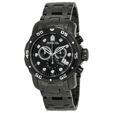 Invicta Pro Diver Chronograph Black Dial Black Ion-plated Mens Watch 0076
