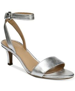 Naturalizer Women Ankle Strap Sandals Tinda Size US 6M Silver Leather