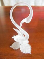 Small Miniature 3 1/2 Inch Tall Frosted Glass Swan