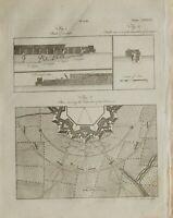 1797 Originale Stampa Guerra Scavo Sapper ~ Piano Con Disposition Batterie