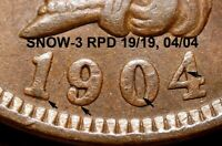 1904 Indian Head Cent - AU SNOW-3, REPUNCHED DATE (K924)