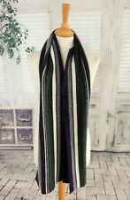 BARBOUR Green & purple striped Lambswool scarf