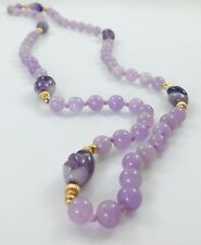 """Estate Carved Amethyst 14K Gold Ribbed Beads Long Beaded Necklace 31"""" Knotted"""