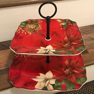 222 fifth Poinsettia Holly Christmas 2 Tier Appetizer/Dessert Plate ~NEW ~