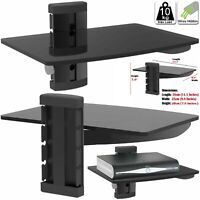 New 1 Tier Black Glass Floating Wall Mount Shelf Sky Box Game Console DVD Player