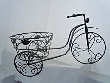 "Iron Bicycle Tricycle Plant Stand Holds 10"" Diameter Pot up to 20lbs Black NEW"