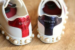 Ladies Gucci Ace Pearl Stud Leather Shoes Trainers Sneakers UK 3 EU 36 US 6