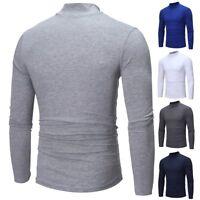 Men LongSleeve Turtleneck T-Shirt Plain Tee Shirt Casual Blouse Top Pullover Lot