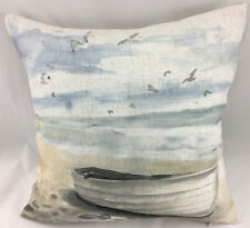 Print of a Boat on the Beach FILLED Evans Lichfield Cushion