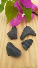 (4 PIECES) GENUINE BEACH SEA GLASS NATURAL SURF TUMBLED RARE SHAPES OLIVE GREEN