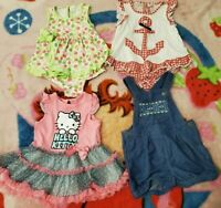 Carter's & Hello Kitty 12 Months 4 Short Sleeve Outfits Baby Girl Clothes