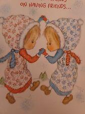 New listing Vtg Hallmark Betsey Clark Christmas Greeting Card Sweet Girls Friends Happiness