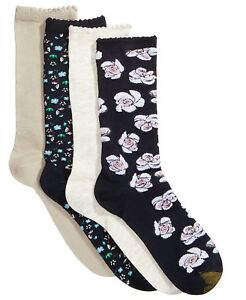 F77 Gold Toe Multi Color Women's 4-Pk. Painted Floral Socks - Size 9-11