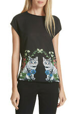 Ted Baker Bleue Florence Floral Print Kitty Cat Kitten Black Tee Tshirt Top 2 10