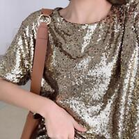Women's Scoop Neck Sequin T-shirt Causal Loose Sparkle Glitter Blouse Tops Tunic