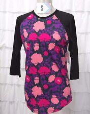 Lularoe Randy S Shirt Black Pink Purple 3/4 Baseball Raglan Floral Body LLR NEW