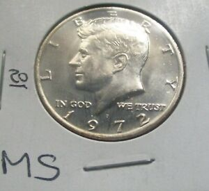 1972-D KENNEDY HALF DOLLAR. MS CONDITION, FROM A MINT SET. HIGH GRADE.  (20).