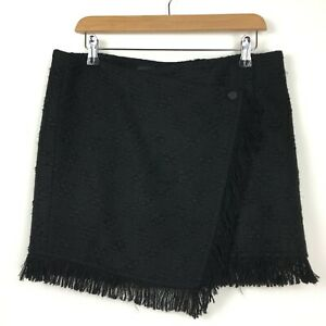 Zara Woman Large 12 14 Mini Skirt Black Tweed Fringe Short Skirt Winter Preppy