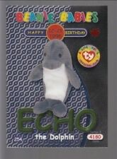 1999 Ty Beanie Babie Series 2 Birthday/Rookie Card Echo Green #254
