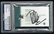 Todd McLellan signed autograph Head Coach San Jose Sharks Business Card PSA Slab