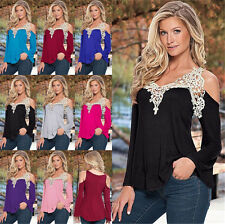UK Plus Size Womens Lace Off Shoulder Loose Ladies Casual Tops T-Shirt Blouse