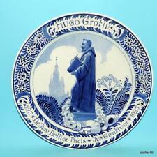 UNIQUE 1923 DUTCH DELFT HOLLAND PORCELEYNE FLES RECOMANDING HUGO GROTIUS PLATE