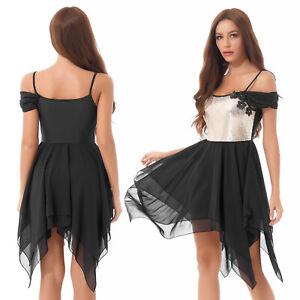 Women's Lyrical Ballet Dance Dress Costume Asymmetric Irregular Chiffon Dress