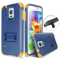 For Samsung Galaxy S5/S4 Rugged Shockproof Hybrid Skin Hard Case Cover Kickstand