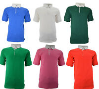 Mens Boys Rugby Shirt Short Sleeves Classic Rugby Polo Shirt 100% Cotton Plain