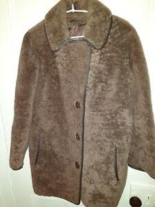 "Ladies Sable Brown Vintage Real Sheepskin Coat ""ENGLISH LADY"" sz M"