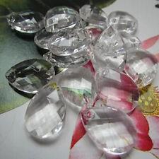 100PC 38*21mm Clear Faceted Teardrop Acrylic Crystal Wedding Chandelier Pendants