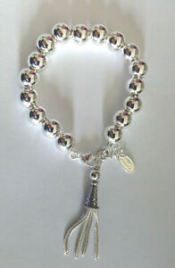 Sterling Silver Ball Bracelet With Sterling Silver Tassell