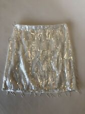 New JCrew Collection Beaded Fringe Skirt $398 Ivory Sz 0 B2786