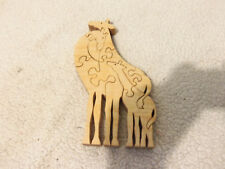 RARE Wooden Puzzle Art Sculpture Giraffe and Young Giraffe vintage toys