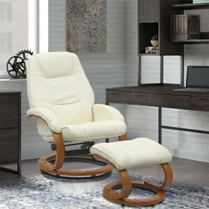 Beige Leather Recliner Swivel Chair With Ottoman Lounge Armchair And Footstool